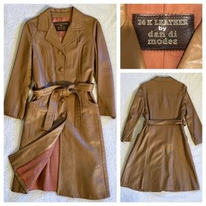 Vintage 24K Dan Di Modes Leather Trench Coat